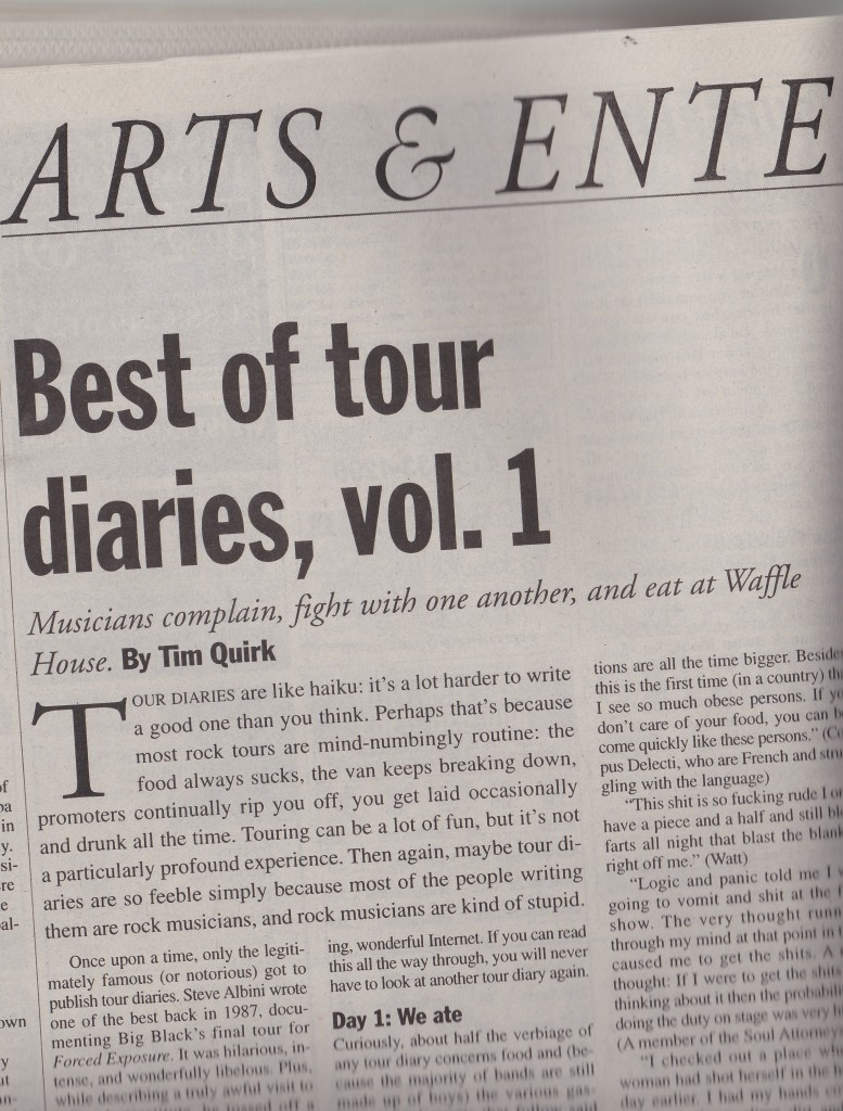 tour diary headline